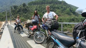 On the road to Phong Nha, with Mansour and Maciek we passed this scary see-through bridge and just had to cross it on our bikes...