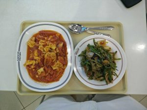 How I often eat now: two dishes of Asian food, heavy on protein and vegetables, without rice or noodles